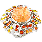 Sunstone,spessartite,clinohumite,yellow sapphire and silver ring.