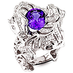 Tanzanite and white diamond gold ring