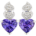 Tanzanite,white diamond and white gold earrings.