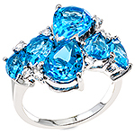 Topaz,sapphire and silver ring