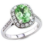 Tsavorite and white diamond gold ring.