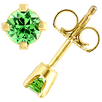Tsavorite and yellow gold earrings.
