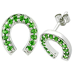 Tsavorite  silver earrings.