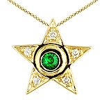 Tsavorite ,white diamond and yellow gold pendant