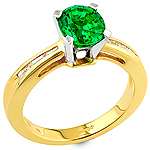 Tsavorite ,white diamond and yellow gold ring.