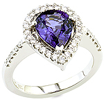 Violet sapphire ,white diamond and platinum ring.