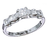 White diamond engagement platinum ring