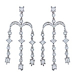 White diamond gold earrings